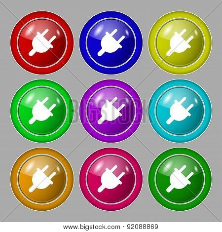 Electric Plug, Power Energy Icon Sign. Symbol On Nine Round Colourful Buttons. Vector