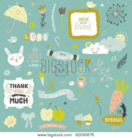 Cute print illustration with spring ans summer elements