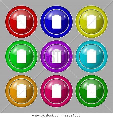 Battery Empty, Low Electricity Icon Sign. Symbol On Nine Round Colourful Buttons. Vector