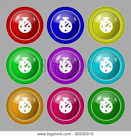 Timer, Stopwatch Icon Sign. Symbol On Nine Round Colourful Buttons. Vector