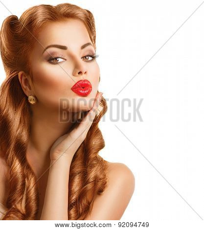 Retro woman with Red Hair. Beauty portrait isolated on white background. Beautiful Vintage styled girl. Perfect makeup and hairstyle. Gorgeous model lady. Red Lips. Luxury Make up. Vogue Style