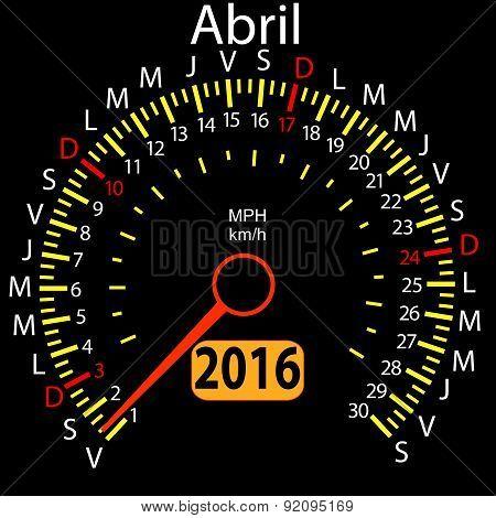 2016 year calendar speedometer car in Spanish, April. Vector ill