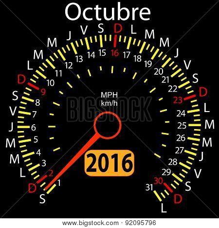 2016 year calendar speedometer car in Spanish, October. Vector i