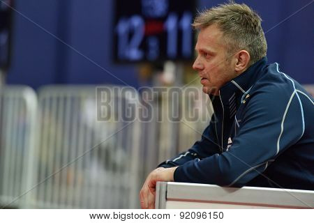 ST. PETERSBURG, RUSSIA - MAY 3, 2015: Coach of team Japan Oleg Matseichuk during team quarterfinal of International fencing tournament St. Petersburg Foil. The tournament is the stage of World Cup