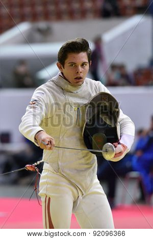 ST. PETERSBURG, RUSSIA - MAY 2, 2015: Johannes Poscharnig of Austria in 1/32 final of 41th International fencing tournament St. Petersburg Foil. The tournament is the stage of FIE World Cup