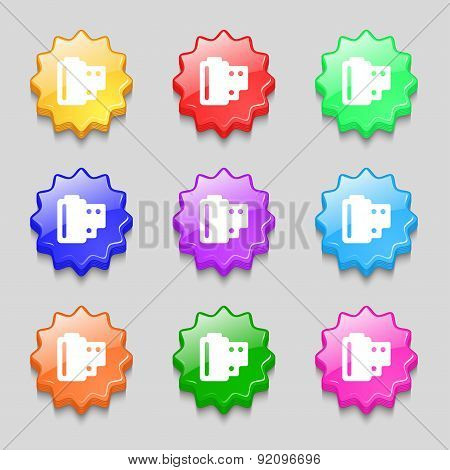 35 Mm Negative Films Icon Sign. Symbol On Nine Wavy Colourful Buttons. Vector