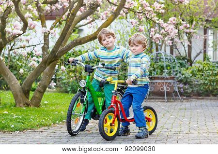 Two Little Kid Boys Biking With Bicycles In Park