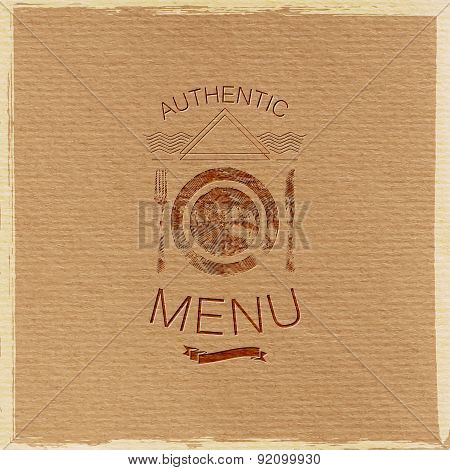 ornate restaurant menu label on cardboard texture