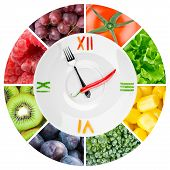 stock photo of vegetable food fruit  - Food clock with vegetables and fruits - JPG