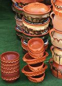 picture of arts crafts  - Art and craft terracotta pottery bowls stack - JPG