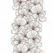 picture of geranium  - Seamless geranium flowers border on white background - JPG