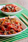 stock photo of sesame seed  - Vegetables in an Asian style with sesame seeds - JPG