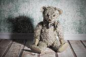 image of ugly  - Ugly old brown sitting vintage Teddy bear - JPG