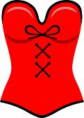 picture of corset  - Red corset template flat style - JPG