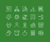 stock photo of trade  - Thin lines icons set of finance strategy banking account return on investing money circulation process securities trading - JPG