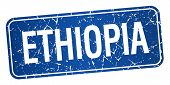 picture of ethiopia  - Ethiopia blue stamp isolated on white background - JPG