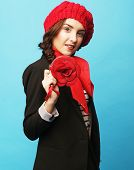 pic of french beret  - Beautiful girl in a red beret - JPG