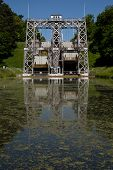 foto of hydraulics  - Old hydraulic boat lifts and historic Canal du Centre Belgium Unesco Heritage  - JPG