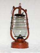 picture of kerosene lamp  - Old red kerosene lamp isolated on white background - JPG