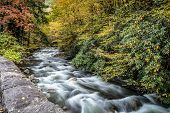 stock photo of smoky mountain  - Great Smoky Mountains Stream in Fall - Longexposure