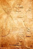 foto of babylon  - Ancient sumerian stone carving with cuneiform scripting - JPG
