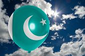 picture of pakistani flag  - balloon in colors of pakistan flag flying on blue sky  - JPG