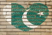 stock photo of pakistani flag  - heart shaped flag in colors of Pakistan on brick wall - JPG