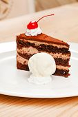 picture of ice-cake  - chocolate cake with ice cream - JPG