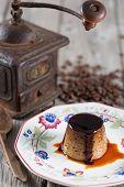 stock photo of custard  - Egg custard with coffee made with fresh produce  - JPG