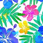 stock photo of hawaiian flower  - Vivid colors bright tropical flowers watercolor vector seamless pattern - JPG