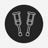 image of crutch  - Crutch Line Icon - JPG