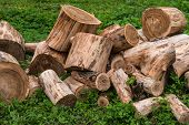 pic of firewood  - A pile of firewood from round sawn logs in the green grass - JPG