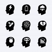 pic of headings  - Stress and depression vector icon set - JPG