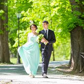 stock photo of stroll  - Bride and groom. Portrait of a loving wedding couple strolling in Tivoli park in Ljubljana, Slovenia.