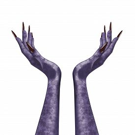 image of claw  - Isolated monstrous scary evil witch hands with long claws illustration - JPG