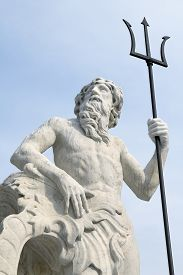 picture of trident  - The beautiful statue of Neptune with its trident in Trieste - JPG