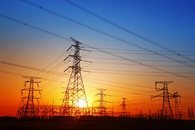picture of electricity pylon  - The evening electricity pylon silhouette it is very beautiful - JPG
