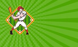 image of bat  - Business card showing cartoon illustration of a baseball player with bat batting facing front on isolated white background with diamond baseball field - JPG
