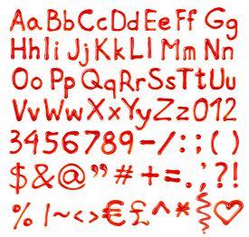 foto of liquid  - Ketchup letters - JPG