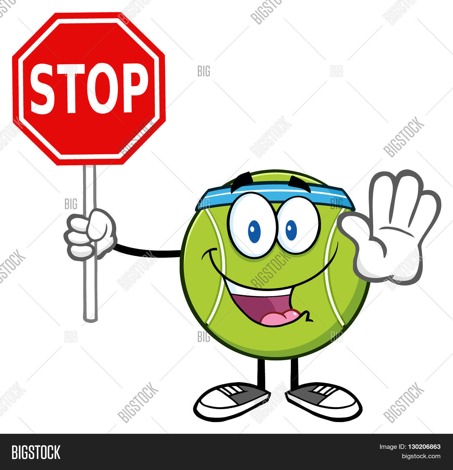 Tennis ball mascot stock photos tennis ball mascot stock photography - Funny Tennis Ball Cartoon Mascot Character Gesturing And Holding A Stop Sign