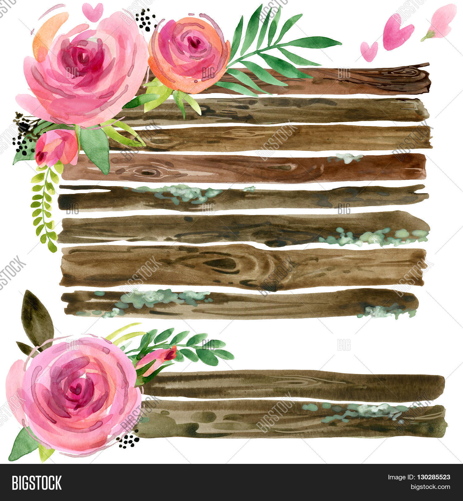 Wood Banners with rose flower. Rose flower watercolor ...