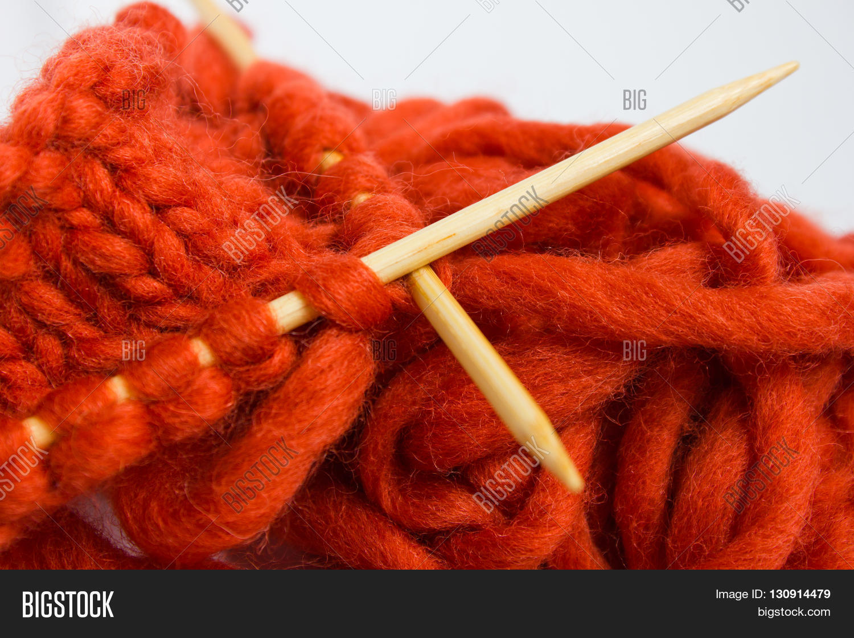 Large Knitting Needles And Wool Uk : Knitting wool thick soft orange image photo bigstock