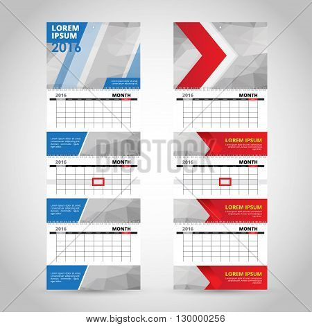 Wall trio calendar template isolated on gray background.