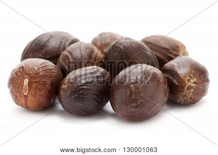 Mature Organic Nutmeg (Myristica fragrans) isolated on white background. Macro closeup Front view.