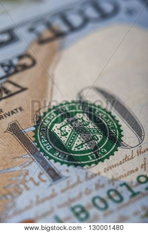 One hundred dollar bill, macro. Money background