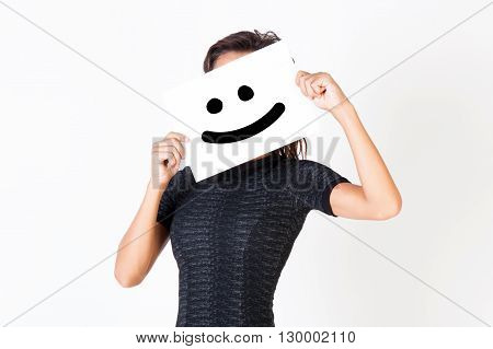 Woman In Elegant Dress Holding Smiley Face Paper