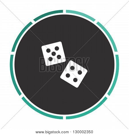 game dice Simple flat white vector pictogram on black circle. Illustration icon