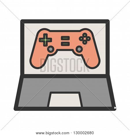 Game, online, play icon vector image.Can also be used for games entertainment. Suitable for mobile apps, web apps and print media.