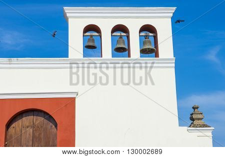 GRANADA NICARAGUA - MARCH 20 : Church bells of The San Francisco church in Granada Nicaragua on March 20 2016. The facade of the building is neoclassical and the interior is romantical