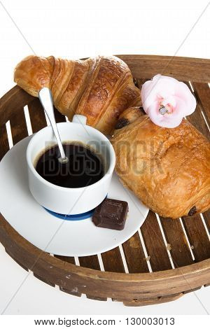 Continental Breakfast With Coffee And Fresh Croissant
